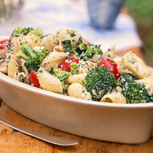 creamy pasta with roasted red pepers and broccoli recipe