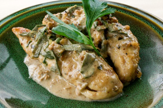 Sauteed Chicken with white wine garlic & herbs