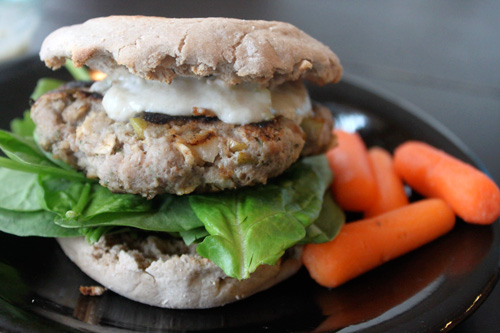 Low Calorie Turkey Burger Mediterrain and Dill